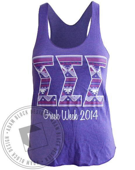 Sigma Sigma Sigma Tribal Greek Week Tank-Adam Block Design