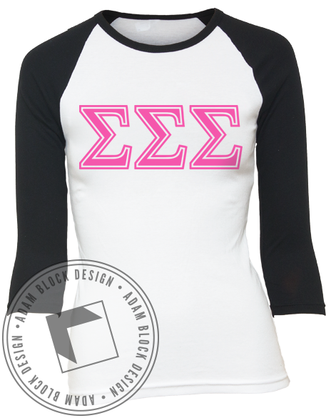 Sigma Sigma Sigma We Support Our Girls Baseball Tee-Adam Block Design