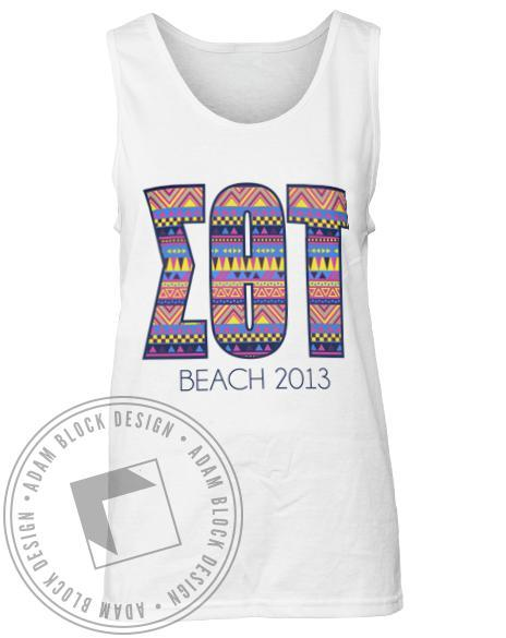 Sigma Theta Tau Tribal Letter Beach Tank-Adam Block Design