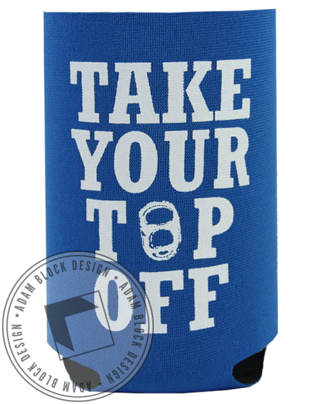 Take Your Top Off Blue Koozie-gallery-Adam Block Design