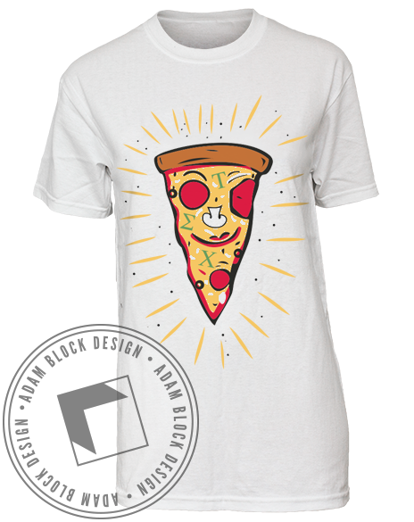 Tau Sigma Chi Happy Pizza Tee-Adam Block Design