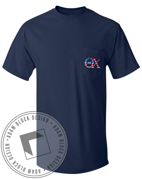 Theta Chi American Pocket Tee-Adam Block Design
