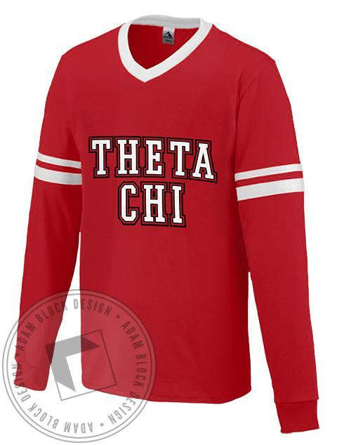 Theta Chi Sleeve Stripe Long Sleeve Jersey-Adam Block Design