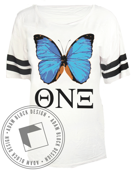 Theta Nu Xi Butterfly Striped Tee-Adam Block Design