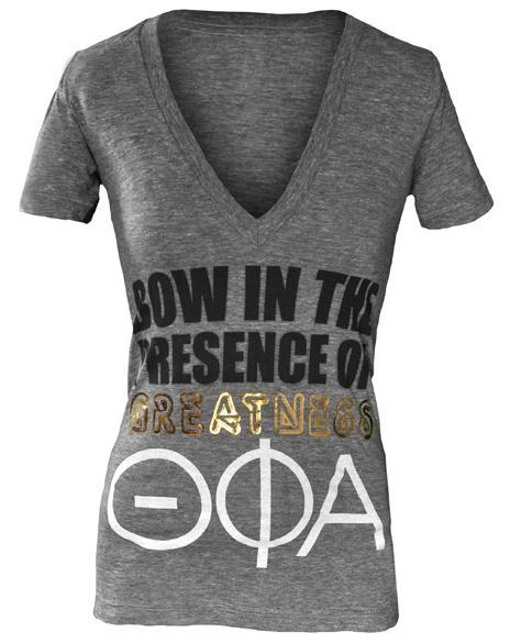 Theta Phi Alpha Greatness V-Neck-gallery-Adam Block Design