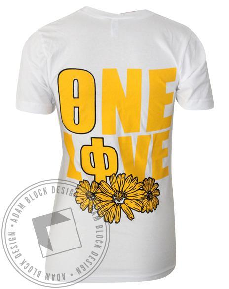 Theta Phi Alpha One Love Sunflower Custom Pocket V-neck-gallery-Adam Block Design
