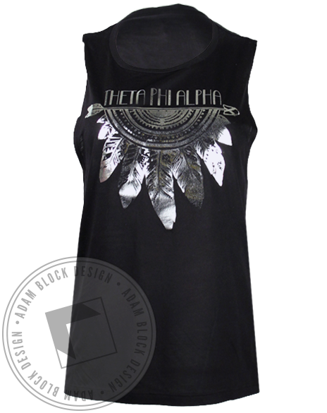 Theta Phi Alpha Silver Feathers Tank Top-Adam Block Design