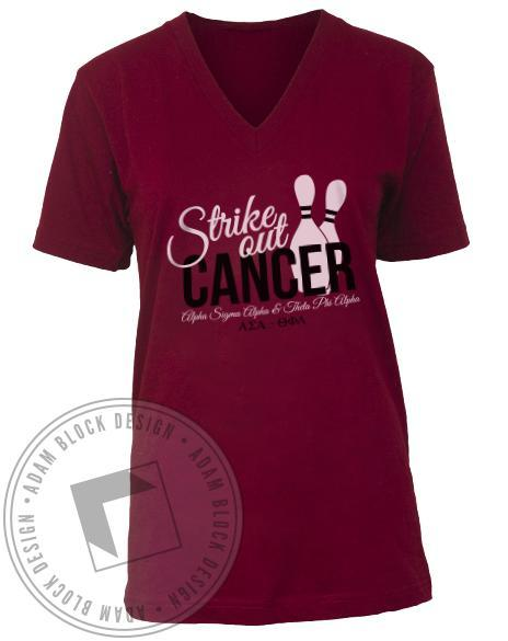 Theta Phi Alpha Strike Out Cancer V-neck-gallery-Adam Block Design