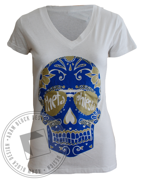 Theta Phi Alpha Sugar Skull V-neck-gallery-Adam Block Design
