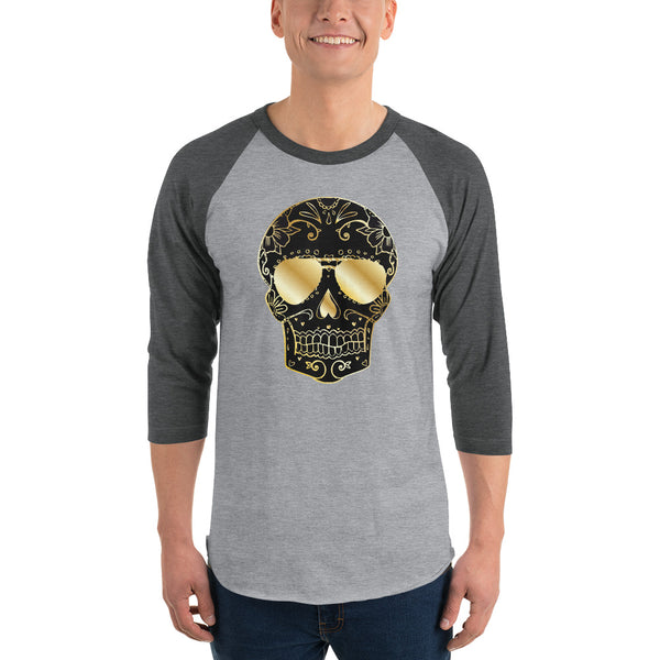 Gold Skull 3/4 Sleeve Raglan Shirt - Color: Black/White, Heather Denim/Navy, Heather Grey/Black, Heather Grey/Heather Red, Heather Grey/Heather Charcoal, White/Black, White/Red, White/Heather Charcoal, White/Kelly - Adam Block Design