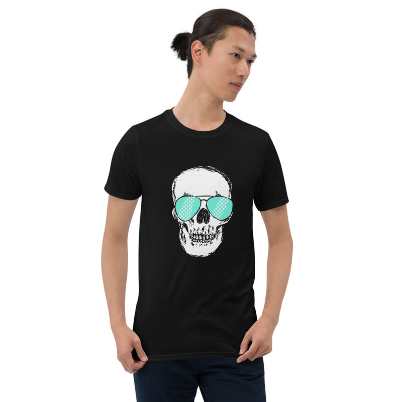 Teal Sunglass Skull Unisex T-Shirt - Color: Black - Adam Block Design
