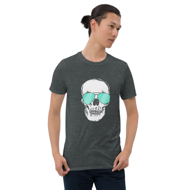 Teal Sunglass Skull Unisex T-Shirt - Color: Dark Heather - Adam Block Design
