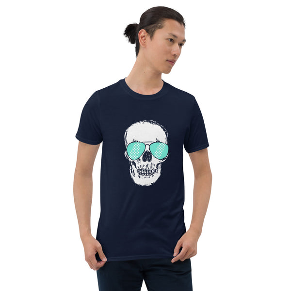 Teal Sunglass Skull Unisex T-Shirt - Color: Navy - Adam Block Design
