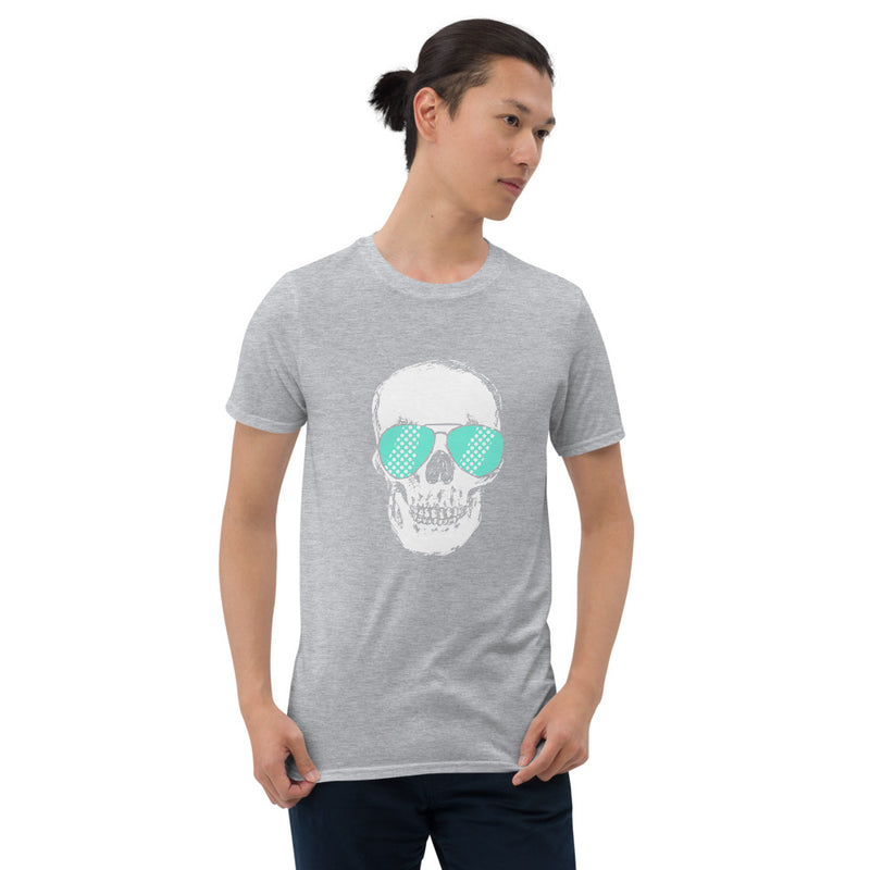 Teal Sunglass Skull Unisex T-Shirt - Color: Sport Grey - Adam Block Design