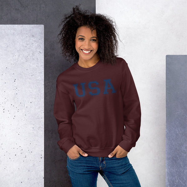 Unisex USA Sweatshirt - Color: Maroon - Adam Block Design