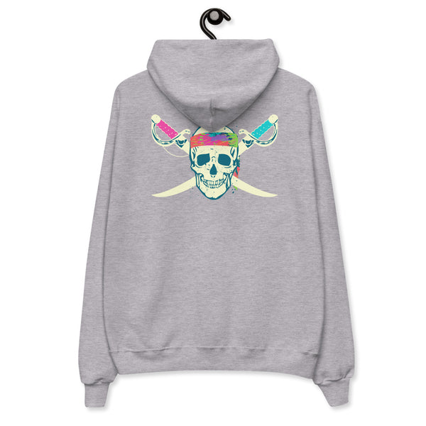 Pirate Skull Hoodie - Color: Black, Athletic Red, Kelly Green, Light Steel, Light Blue, Pale Pink, White - Adam Block Design