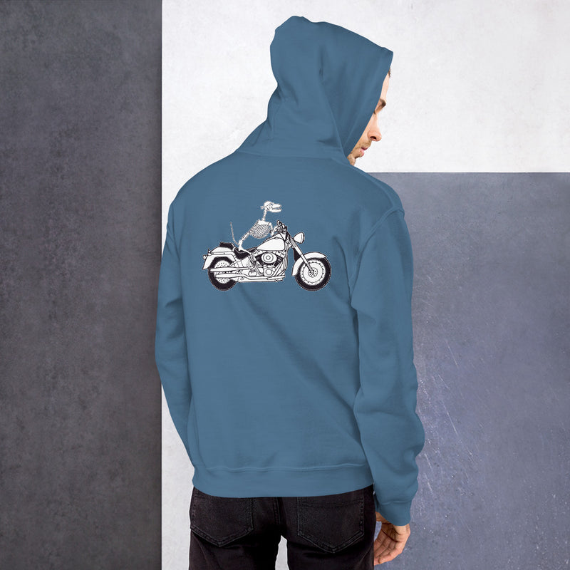 Motorcycle Motopsycho Unisex Hoodie - Color: Indigo Blue - Adam Block Design