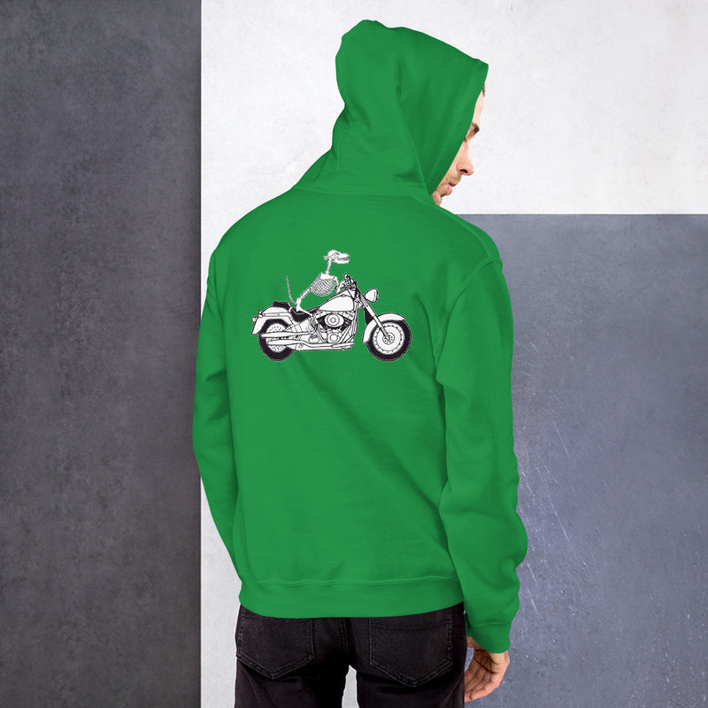 Motorcycle Motopsycho Unisex Hoodie - Color: Irish Green - Adam Block Design