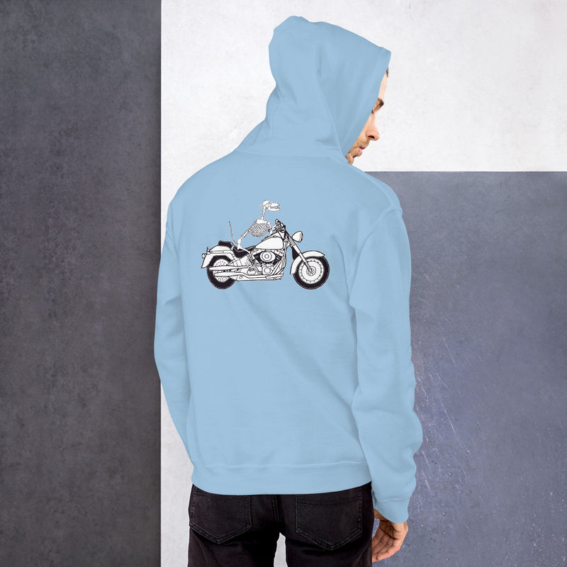 Motorcycle Motopsycho Unisex Hoodie - Color: Light Blue - Adam Block Design