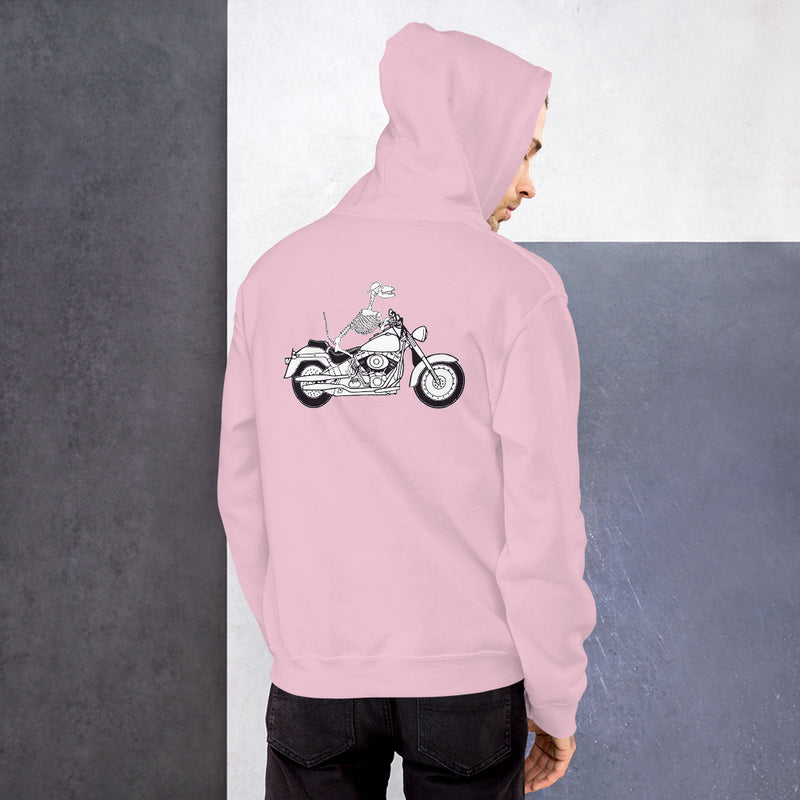 Motorcycle Motopsycho Unisex Hoodie - Color: Light Pink - Adam Block Design