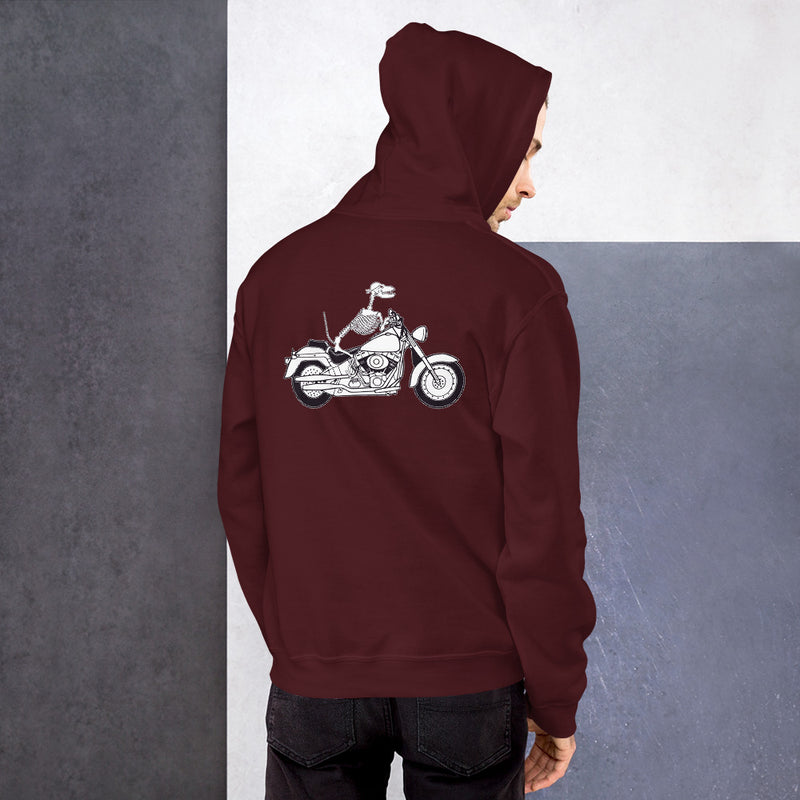 Motorcycle Motopsycho Unisex Hoodie - Color: Maroon - Adam Block Design