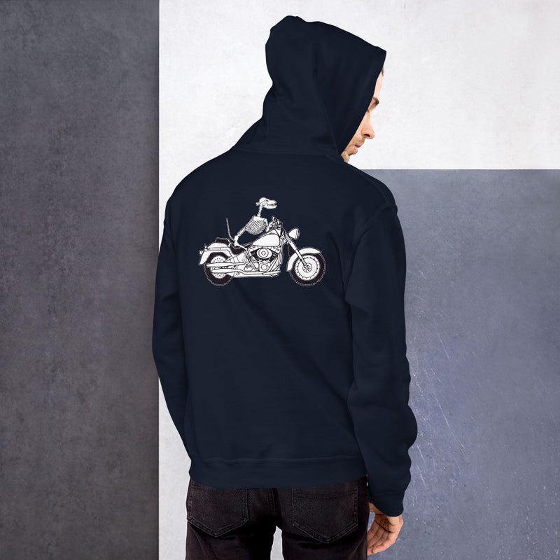 Motorcycle Motopsycho Unisex Hoodie - Color: Navy - Adam Block Design