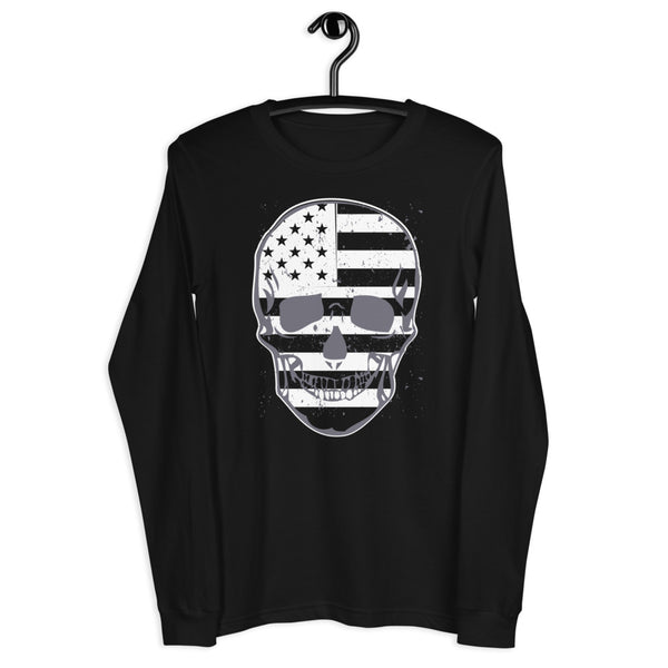 Flag Skull Unisex Long Sleeve Tee - Color: Black - Adam Block Design