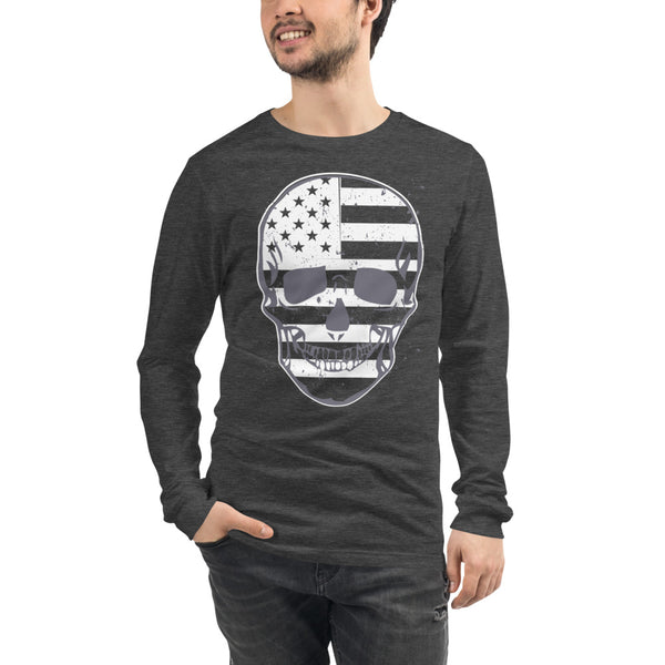 Flag Skull Unisex Long Sleeve Tee - Color: Black, Navy, Maroon, Red, Dark Grey Heather, Military Green, Athletic Heather - Adam Block Design