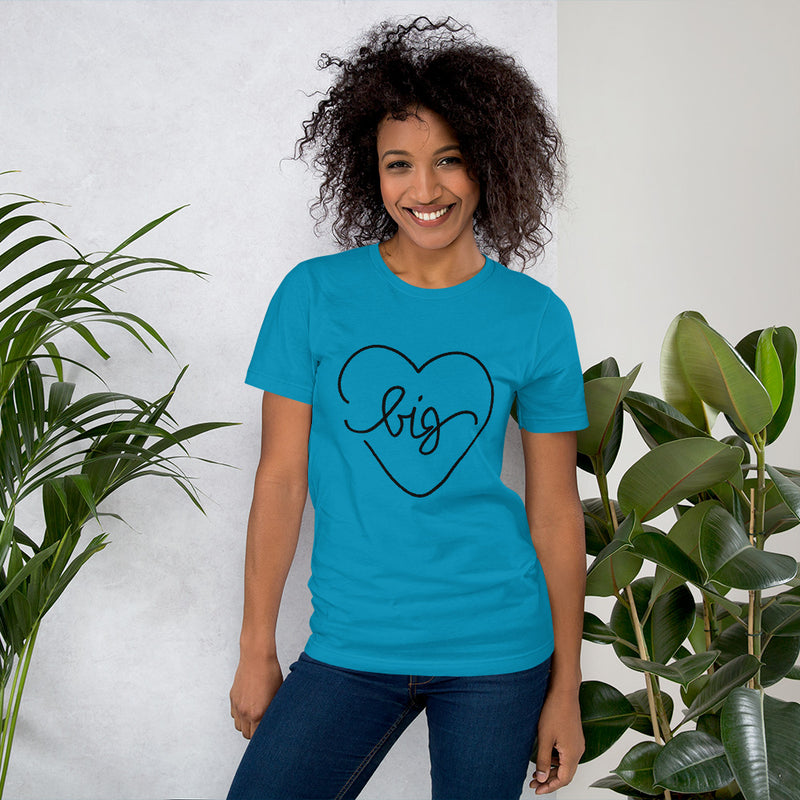 Big Heart Outline Tee - Black - Color: Aqua - Adam Block Design