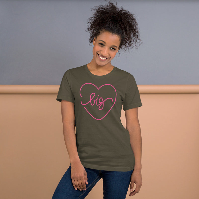 Big Heart Outline Tee - Pink - Color: Army - Adam Block Design