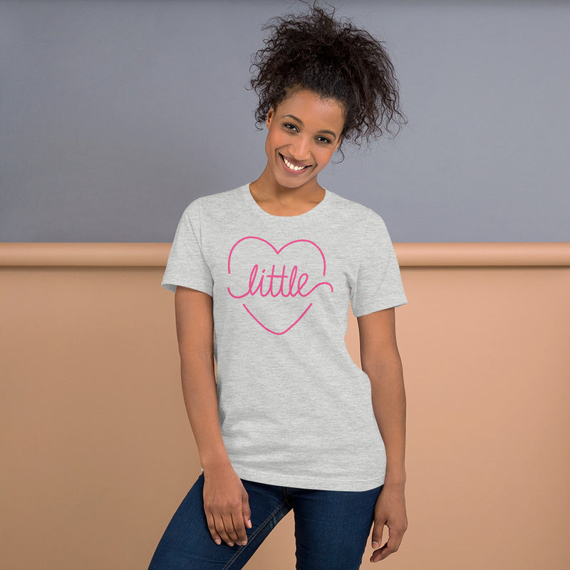 Little Heart Outline Tee - Pink - Color: Athletic Heather - Adam Block Design