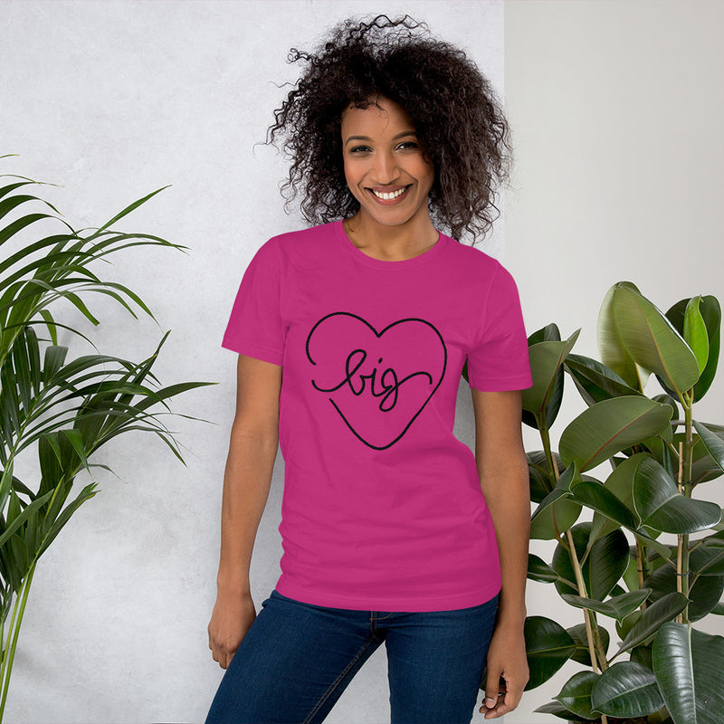 Big Heart Outline Tee - Black - Color: Berry - Adam Block Design