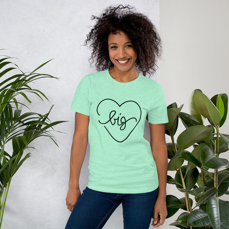 Big Heart Outline Tee - Black - Color: Heather Mint - Adam Block Design