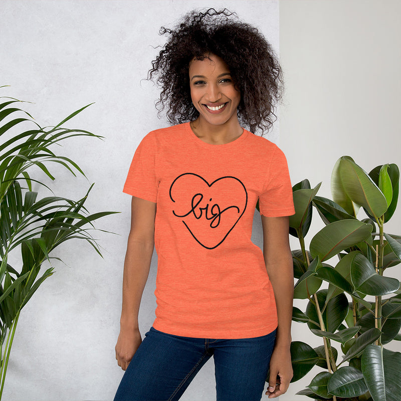 Big Heart Outline Tee - Black - Color: Heather Orange - Adam Block Design