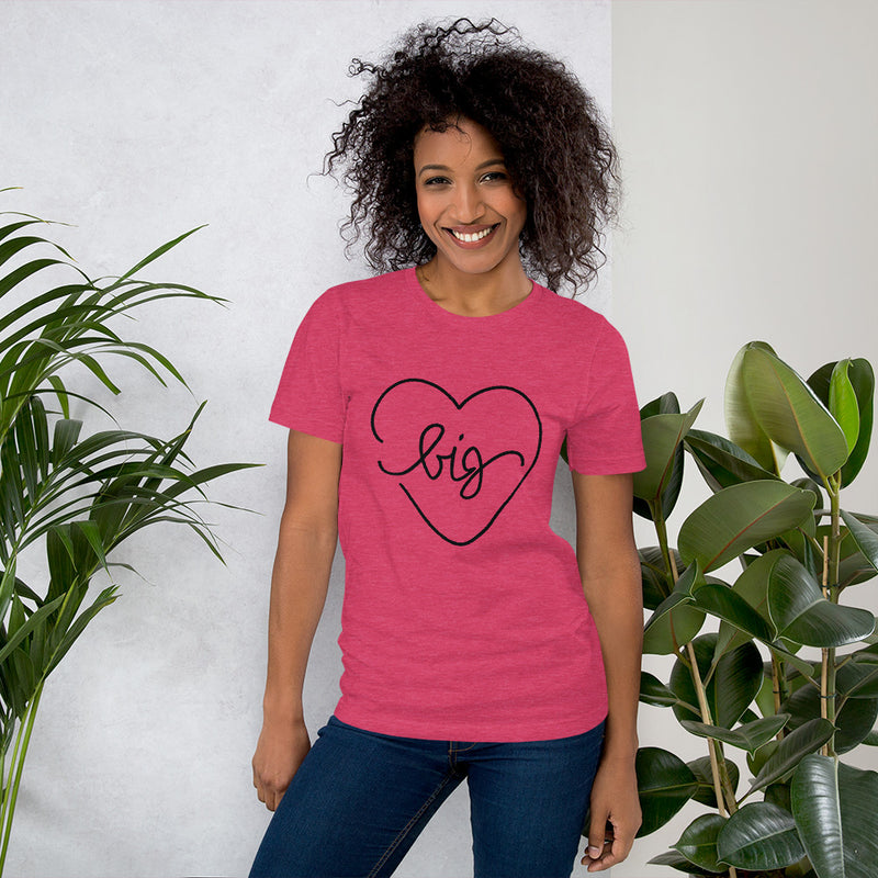 Big Heart Outline Tee - Black - Color: Heather Raspberry - Adam Block Design