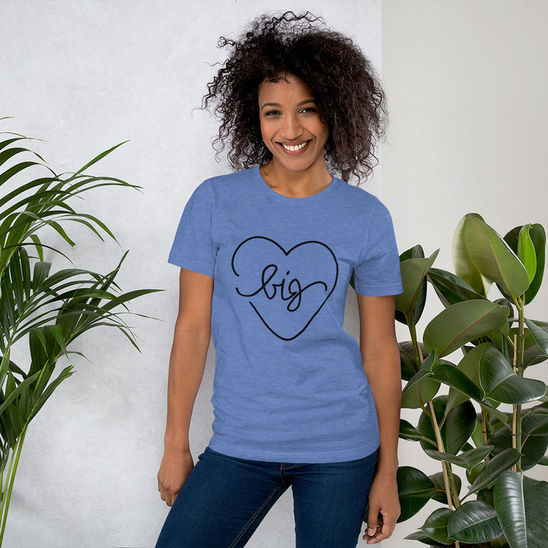 Big Heart Outline Tee - Black - Color: Heather True Royal - Adam Block Design