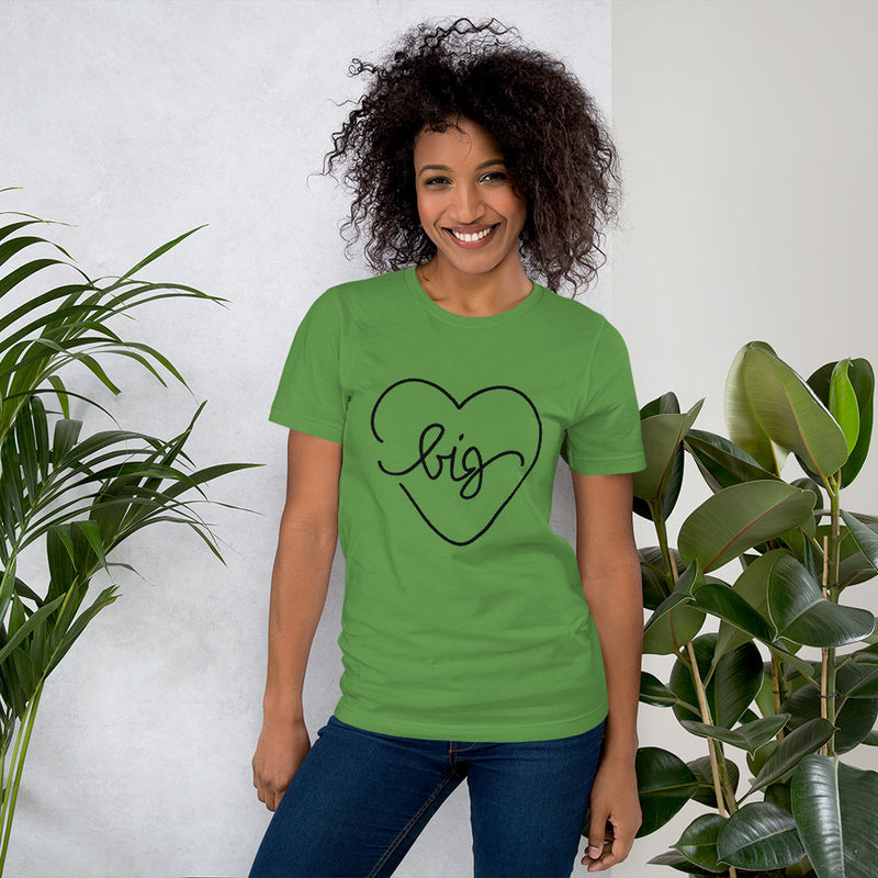 Big Heart Outline Tee - Black - Color: Leaf - Adam Block Design