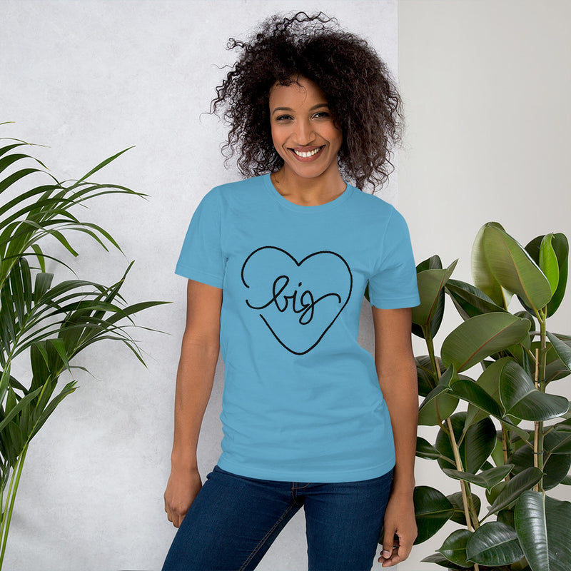 Big Heart Outline Tee - Black - Color: Ocean Blue - Adam Block Design