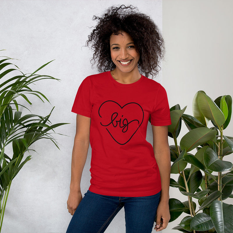 Big Heart Outline Tee - Black - Color: Red - Adam Block Design