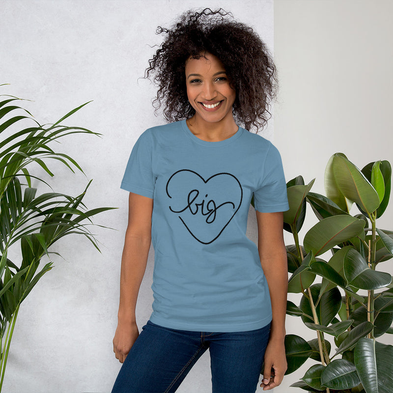 Big Heart Outline Tee - Black - Color: Steel Blue - Adam Block Design