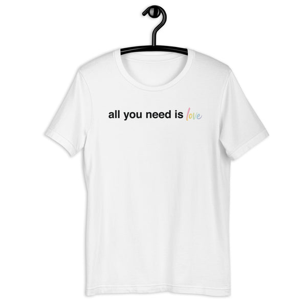 All You Need Is Love Unisex Tee - Color: White - Adam Block Design