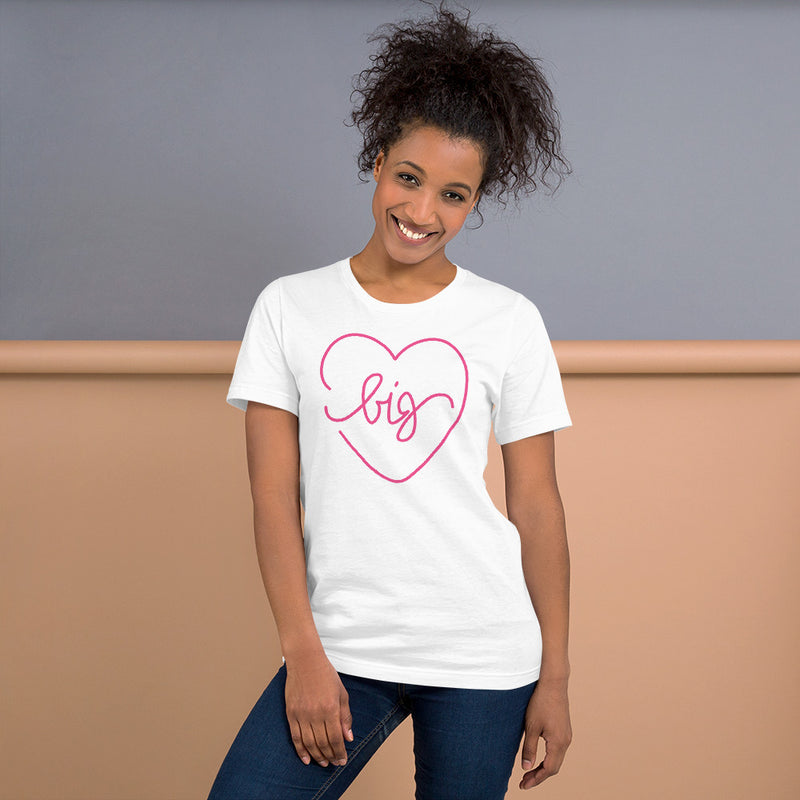 Big Heart Outline Tee - Pink - Color: White - Adam Block Design