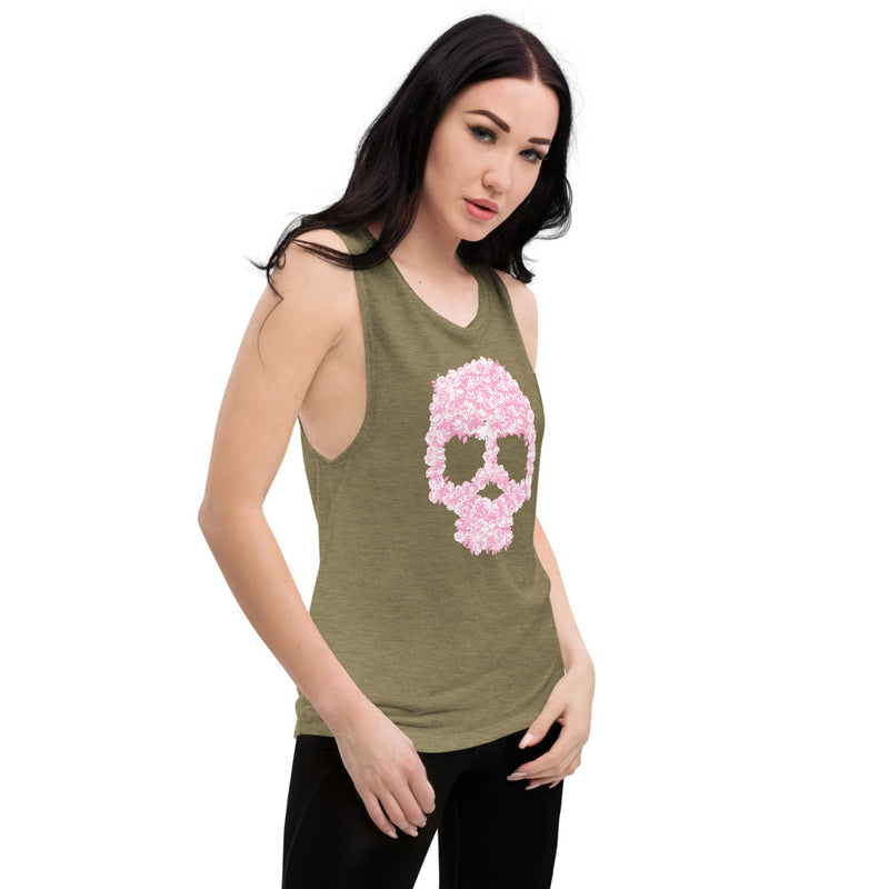 Pink Flower Skull Ladies' Muscle Tank - Color: Black Heather, Mauve, Heather Olive, Athletic Heather, Peach, Dusty Blue, White - Adam Block Design