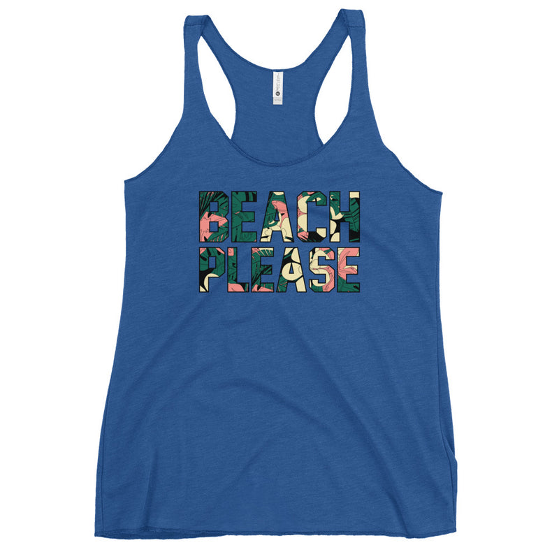 Beach Please Tropical Racerback Tank - Color: Vintage Royal - Adam Block Design