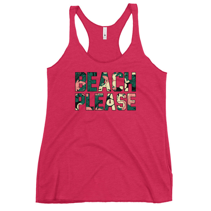 Beach Please Tropical Racerback Tank - Color: Vintage Shocking Pink - Adam Block Design