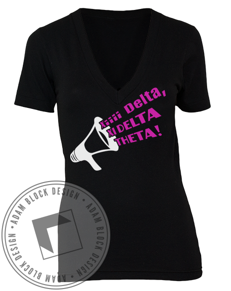 Xi Delta Theta Cheer Vneck-Adam Block Design