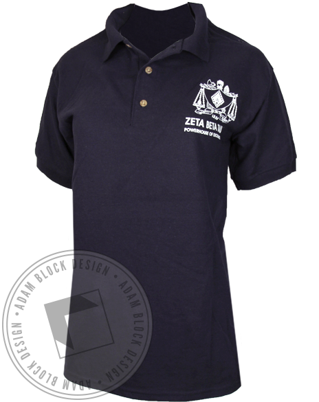 Zeta Beta Tau Crest Polo Shirt-gallery-Adam Block Design