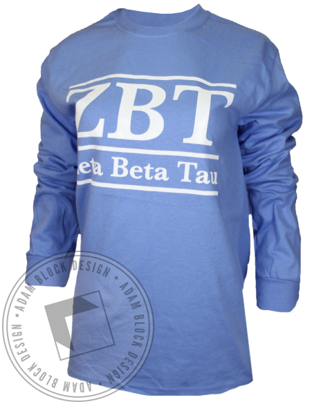 Zeta Beta Tau Letters Longsleeve Shirt-Adam Block Design