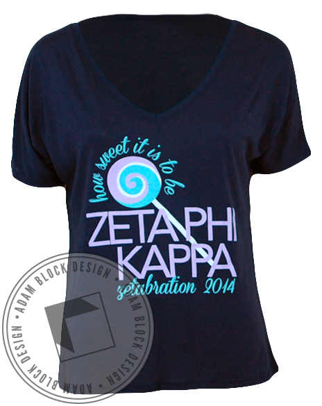 Zeta Phi Kappa Lollipop Tee-Adam Block Design