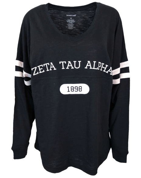 Zeta Tau Alpha 1898 P.E. Striped Longsleeve-gallery-Adam Block Design